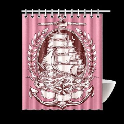 Tattoo Pink Ship Nautical Pirate Shower Curtain Rockabilly Pinup Punk Kraken Art - Pirate Shower Curtain