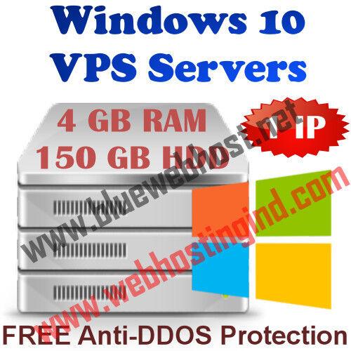 Windows 10 Vps (virtual Dedicated Server) 4gb Ram + 250gb Hdd + Ddos
