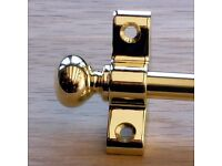 "SET OF 22 3/8"" POLISHED BRASS ROUND FINIAL STAIR RODS"