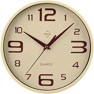 CREAM / BEIGE - NEW RETRO ROUND WALL CLOCK BIG NUMBERS KITCHEN OFFICE HOME SALON