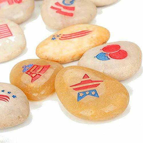 12-Pack USA Patriotic Rocks - American Party Decorations - US Decorations for