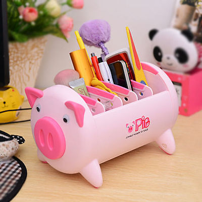 Pink Pig Plastic Desk Organizer Desktop Pen Pencil Holder For Home Office