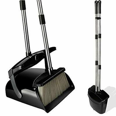 Broom and Dustpan Set with Lid Stainless Steel Long Handle and Light Weight L...