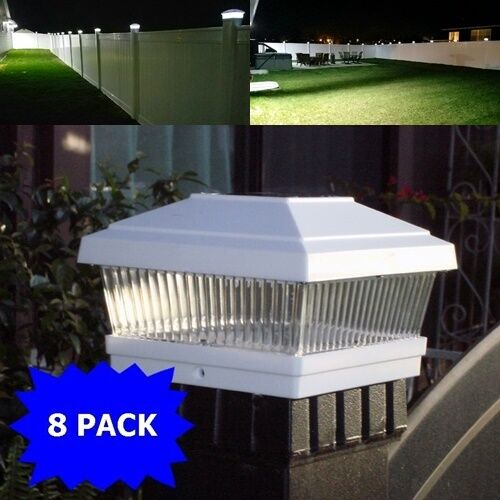 "8 Pack LED White 5""X5"" Solar Powered Post Deck Cap Square Fe"