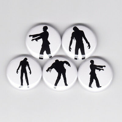 ZOMBIE SILHOUETTES pinback button set fear horror living dead walking night (Zombie Silhouettes)