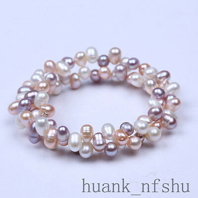 - 6-7MM natural colorful freshwater cultured pearl bracelet stretch 6cm DIA bangle