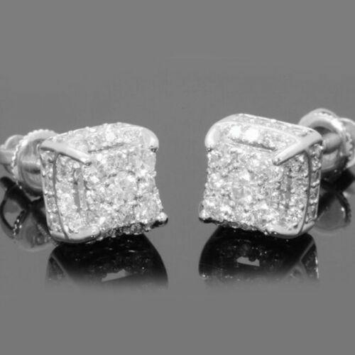 18K Gold/Silver Square Cube AAA Zircon Stud Earrings For Men