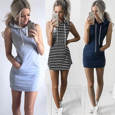 Women Fashion Drawstring Hooded Sleeveless Dress Pocket Casual Sport Mini - Hood Dress