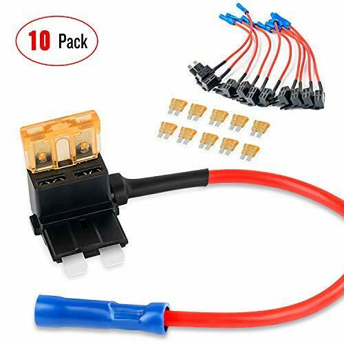 Nilight 10Pack Holder 12V Add-a-Circuit TAP Adapter Blade Fuse Set Trucks Boats