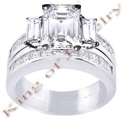 3.35 Ct. Emerald Cut Diamond Bridal Set E,VVS2 GIA 14K WG
