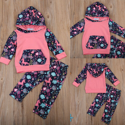 US Newborn Baby Girl Clothes Hooded Tops Pants Infant Unicor