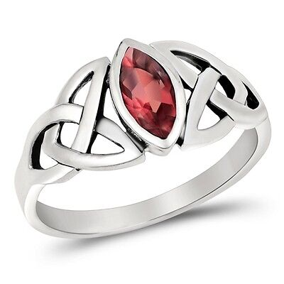 - Ruby Red Marquise Setting Celtic Knot Ring - Rhodium Sterling Silver