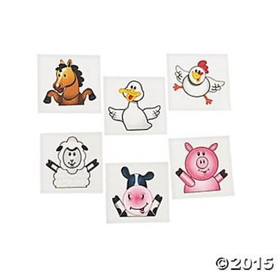 72 Farm Animal Western Temporary Tattoos Kids Birthday Party Favors Gifts](Farming Tattoos)