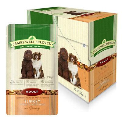 James Wellbeloved Wet Dog Food Pouch Adult Turkey Rice 10 x 150g Damaged Box