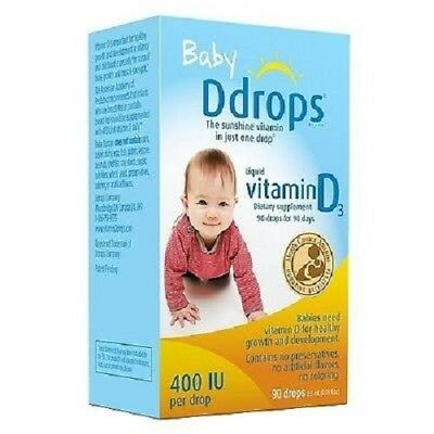 Baby Ddrops Liquid Vitamin D3 400 IU Dietary Supplement 90 Drops 2.5 ml