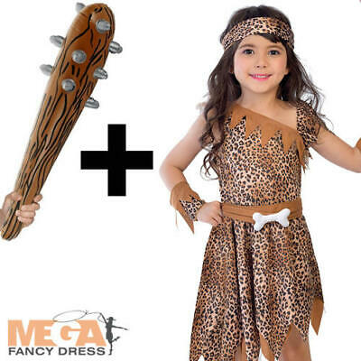 Cavegirl + Inflatable Club Girls Fancy Dress Stone Age Cavewoman Kids Costume