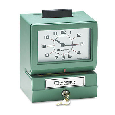 Acroprint Model 125 Analog Manual Print Time Clock With Date0-23 Hoursminutes