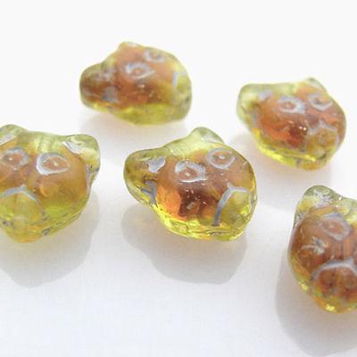 5 Glasperlen Katzen gelb braun 12,5mm Tierperlen Perlen zum Basteln -797