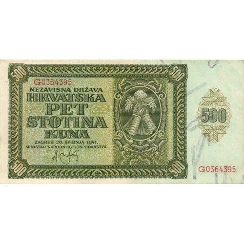 CROATIA / NDH -  500 KUNA        1941      P.3a   aUNC