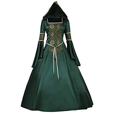 Hooded Renaissance Dress (Womens Renaissance Gown Costume Medieval 2XL Dress Green Emerald Brocade)