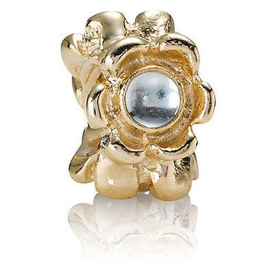 PANDORA   14K GOLD BLUE RIBBON Charm 750343BTP *NEW* Authentic RETIRED TOPAZ USA