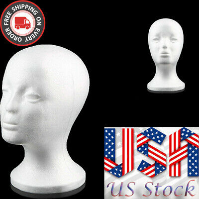 White Female Foam Mannequin Head Wigs Glasses Cap Display Holder Stand Model Usa