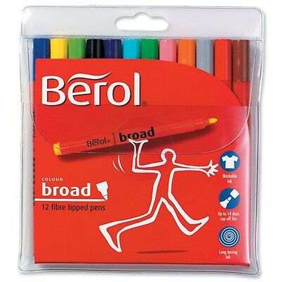 Berol Colour Broad Colouring Pens - Assorted - Pack of 12