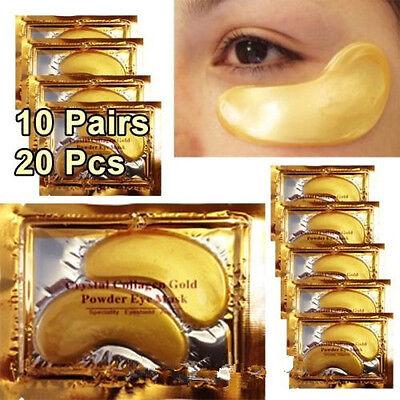 10 Pairs, Crystal Collagen Gold Eye Mask Reduce Eye Wrinkles Bags & Dark Circles