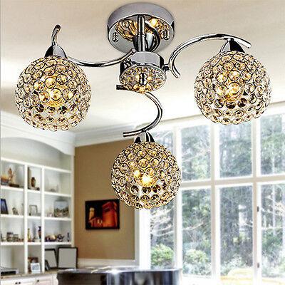 Modern Crystal Metal Ceiling Lighting Chandelier Light Lamp Pendant Fixture 40W