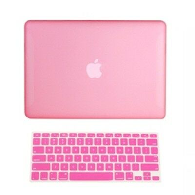 """2 in1 Rubberized PINK Hard Case for Macbook White 13"""" A1342 with Keyboard Cover"""