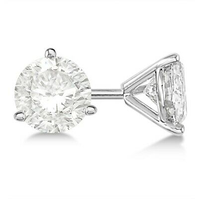 1ct Luxury Stud Diamond Earrings 14K White Gold Modern Round Cut H-I SI