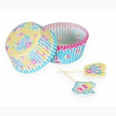 Fanci Baking 24ct Paper Cupcake Liners / Cases & Picks - Country Floral