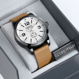 Mens Gents GLOBENFELD Contemporary Leather Strap Wristwatch