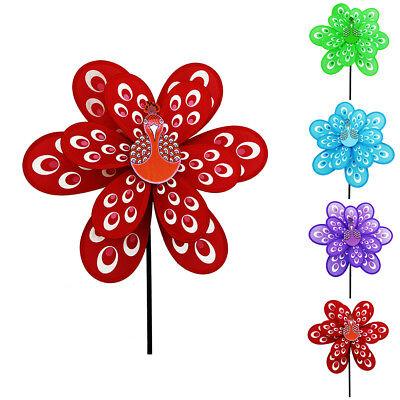 Dual Layers Peacock Pinwheels Toy Home Outdoor Decor DIY Windmill Gift for - Diy Pinwheels