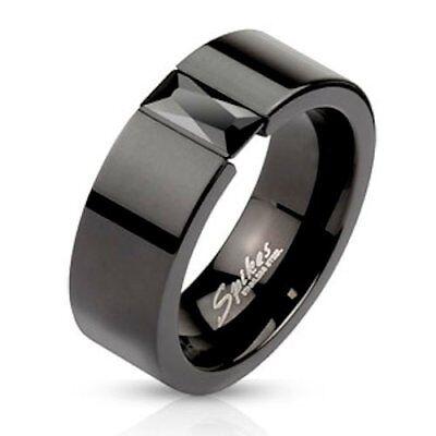 Black CZ Tension Set Black IP Stainless Steel Comfort Fit Band