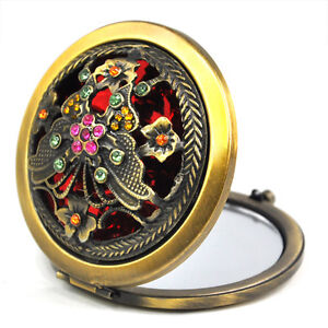 Vintage Compact Folding Handbag Mirror Makeup Cosmetic Foldable Travel Pocket UK