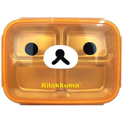 Rilakkuma Double Stainless Lunch Tray box in 4 parts Cute Bear Character Brown