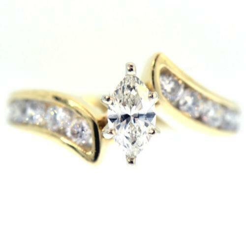 engagement carat gold low marquee profile marquise diamond ring products crown solid pave with artemer diamonds