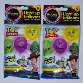 10 x ILLOOMS DISNEY PIXAR TOY STORY LED LIGHT UP PARTY BALLOONS GLOW IN THE DARK