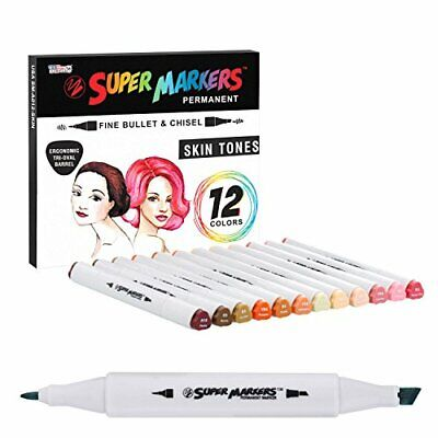 12 Color Super Markers Skin & Hair Tones Dual Tip Set - Double-Ended Permanent