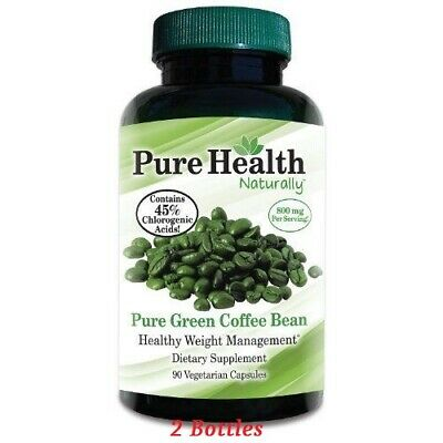 2pk PURE HEALTH 100% PURE Green Coffee Bean Extract Caps 90ct Better than