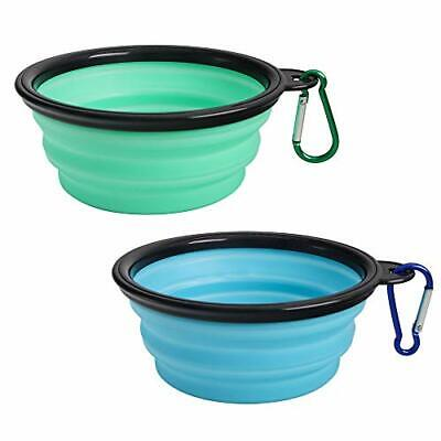 Collapsible Dog Bowl 2 Pack Portable Silicone Pet Feeder Travel Bowl for Camping