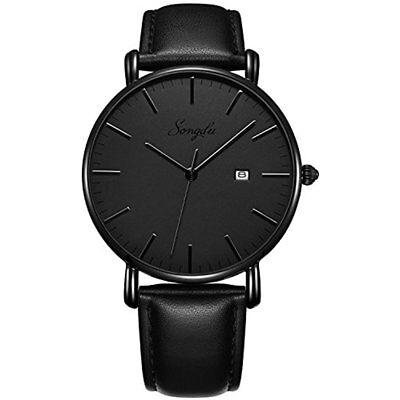 Mens Ultra Thin Quartz Analog Date Wrist Watch Grey Dial Black Leather Strap
