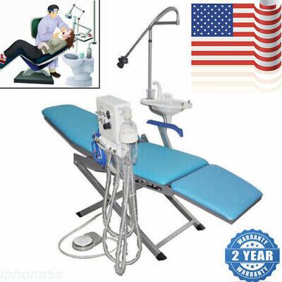 Dental Portable Folding Chair Set Led Light Handpiece Turbine Unit Weak Suction