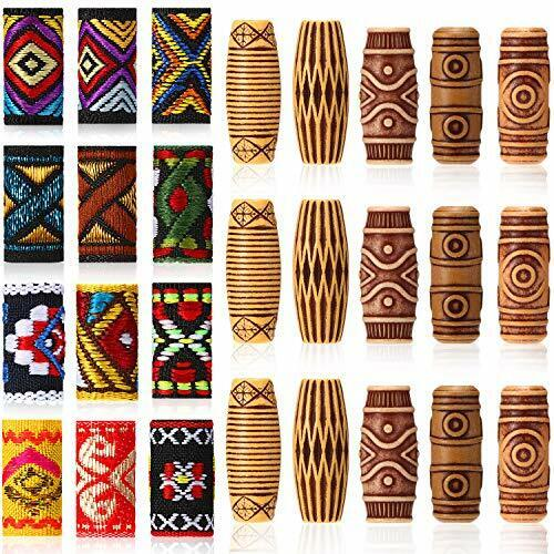 27 Pieces Hair Tube Beads and Fabric Dreadlock Beads DIY Spiral Style Beads