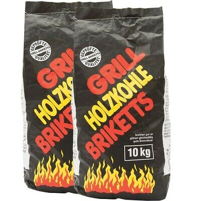 Holzkohle-Grill-Briketts 20 kg (2 x 10 kg) Kamin Ofen BBQ Grillkohle