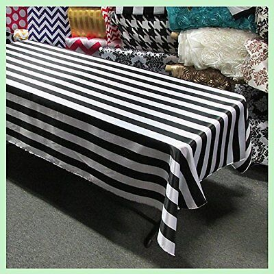 lovemyfabric Satin 2 Inch Black & White Striped Tablecloth 58