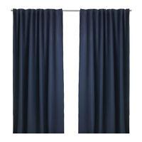 2 pairs white & dark blue curtains / Rideaux blancs et bleus