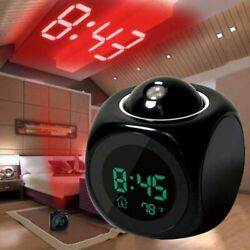 Alarm Clock LED Wall & Ceiling Projection LCD Digital Voice Talking Temperature