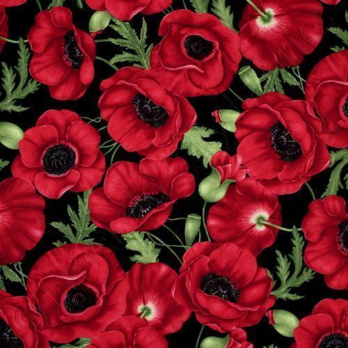 Red Poppy Fabric Ebay